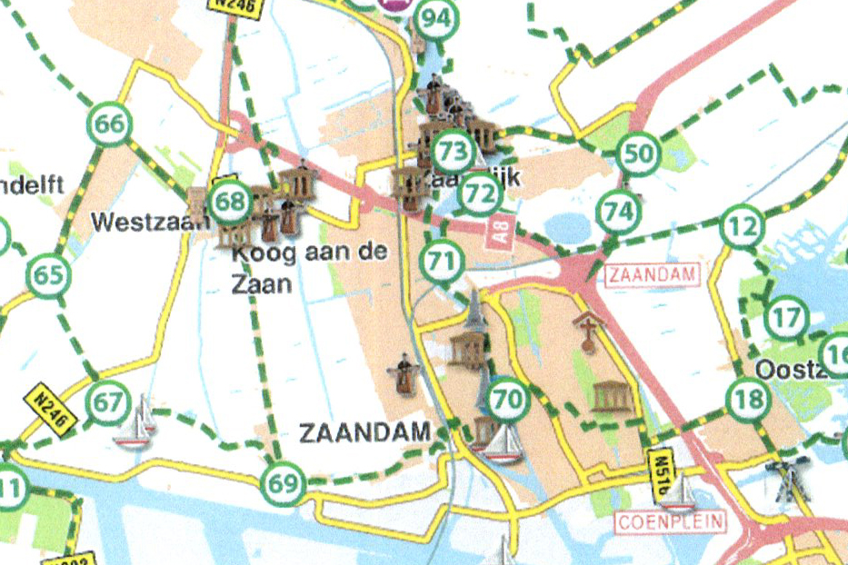 Kaartje met routepunten door de Zaanstreek